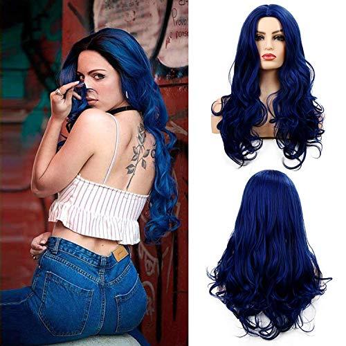 Perücke Blau Lang Lockige gewellte Synthetische Haare Perücke für Frauen Cosplay Langhaare Marine Blue Halloween Karneval Party(Blau)
