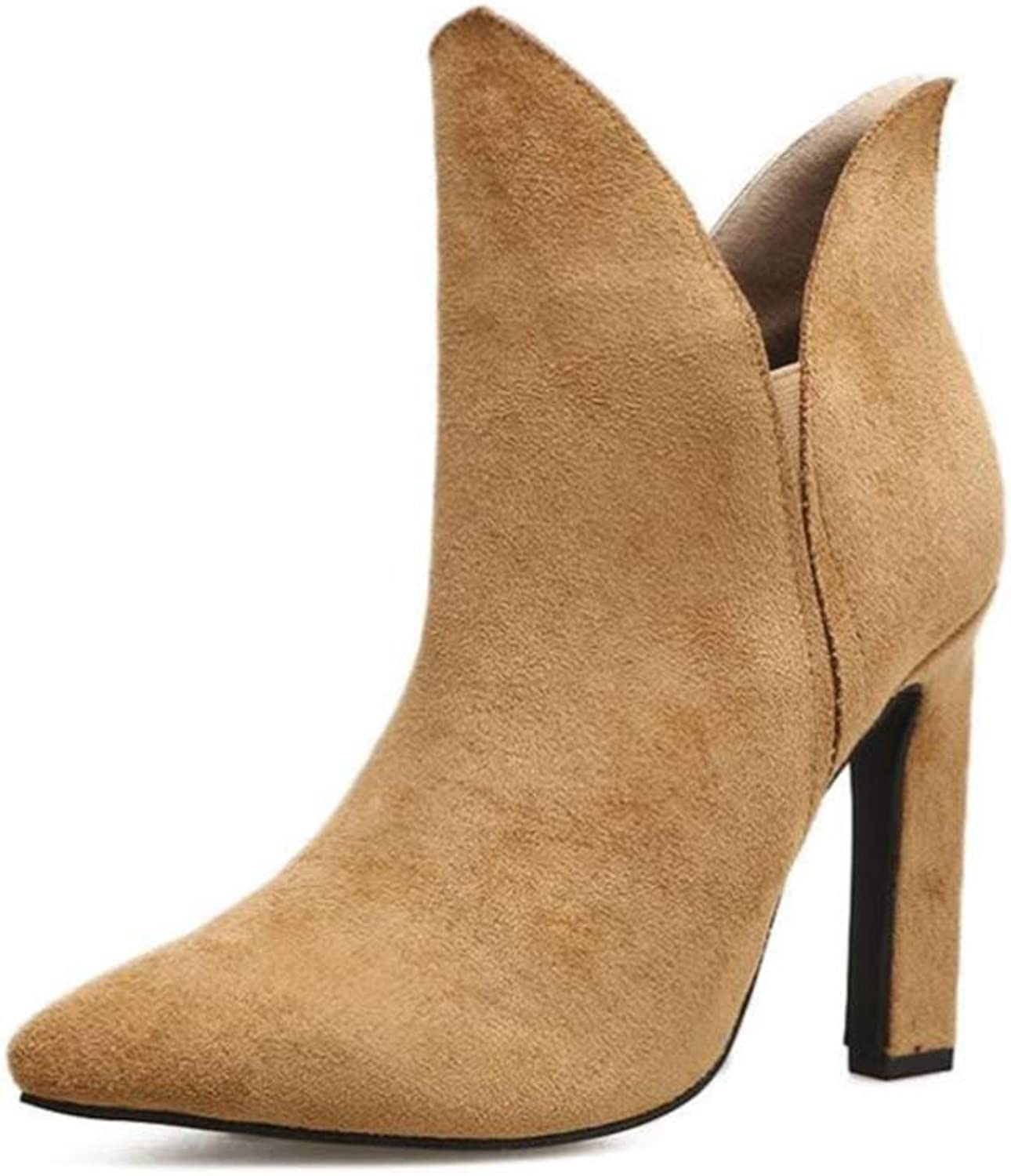 Shiney Women's Boots Heeled Suede Pointed Toe Nubuck Leather Boots Chunky Heel Autumn Winter