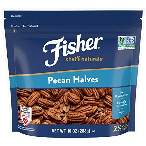 Fisher Chefs Naturals Pecan Halves, 10 Ounces, Naturally Gluten Free, No Preservatives, Non-GMO