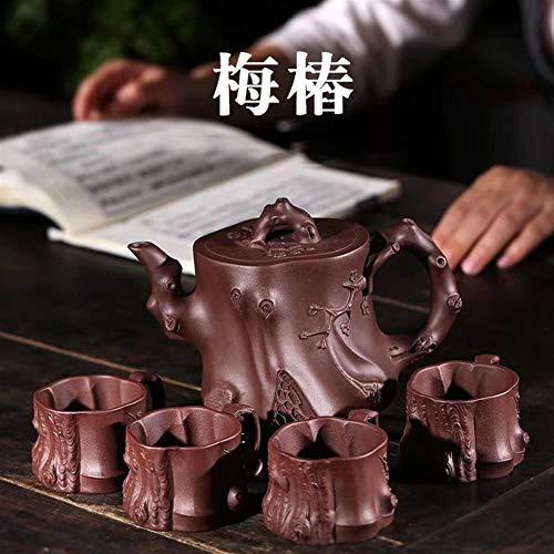 HuiLai Zhang theepot, motief: pruim, set met 4 kopjes theepot