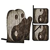 F-shop Ying Yang Decor Collection Rustic Wood with Ying Yang Sign Art Grunge Design Zen Peace...