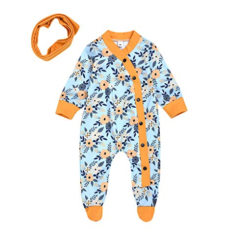 Lurryly Baby Boy 4Th of July Romper Newborn Infant Baby Girls Boys Floral Print Romper Bodysuit +Headband Outfits Blue