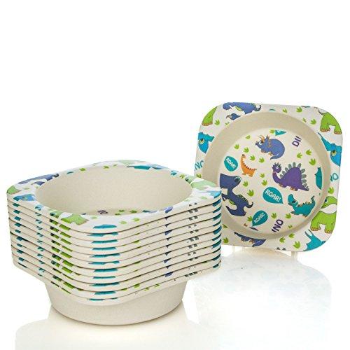 Tiny Dining Petits Repas à Manger en Fibre de Bambou pour Enfants Bowl - Dinosaur - Paquet de 12