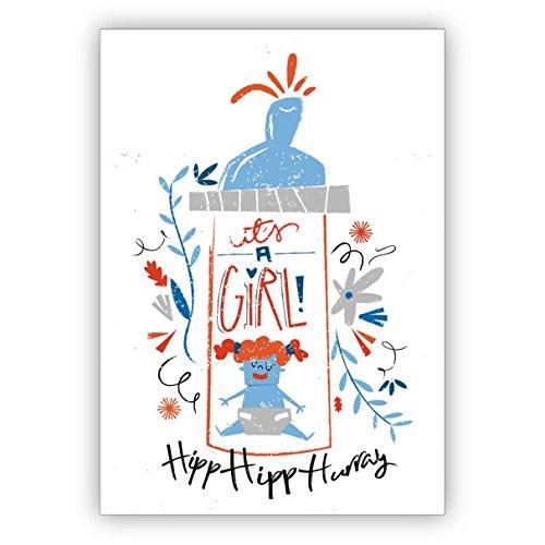 Super schattig geïllustreerde retro wenskaart voor de geboorte van een meisje met vintage baby melkfles: It's a girl hip hurray • direct verzending met uw tekst op inlegger • mooie welkomstkaart, wenskaart voor geboorte. 1 Grußkarte wit