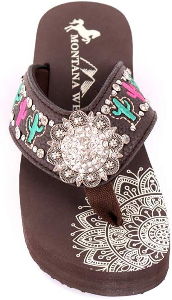 Montana West Aztec Women Flip Flops Western Embroidered Rhinestone Comfort Wedge Sandals