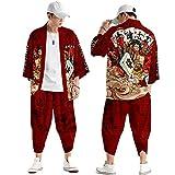 curtain Traje Tipo Cárdigan Kimono para Hombre,Pantalones Harem Japoneses Talla Grande,Capa Haori Estampada,Camisa Manga Tres Cuartos Primavera y Verano,Red-Xlarge