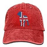Patriotic Pitbull Islandia Bandera Vintage Denim Gorra de béisbol Unisex Multicolor1