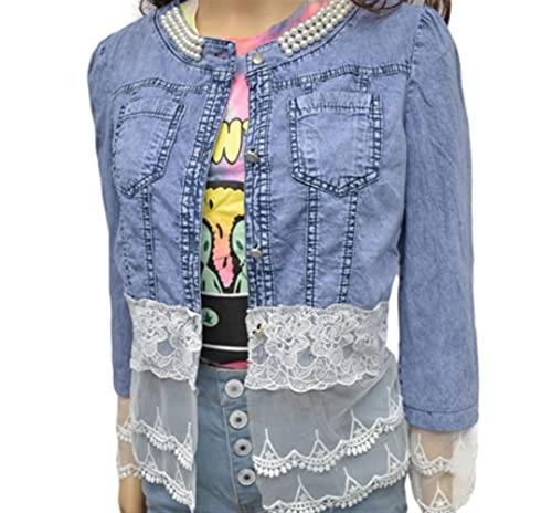 Chaqueta de la costura de mezclilla para mujer con cuentas solapa delgada botón delgada abajo elástico lavado manga larga jean chaqueta vintage casual novio abrigo