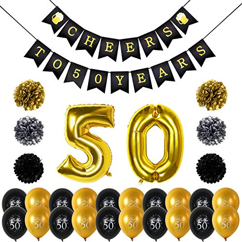 Konsait Saludos A 50 Años Cumpleaños Bandera Banderines, Globos De Cumpleaños Numeros 50, 20Pcs Globos De Látex De Oro Negro, Pompón Papel Para Decoraciones Fiesta De Cumpleaños De 50 Años