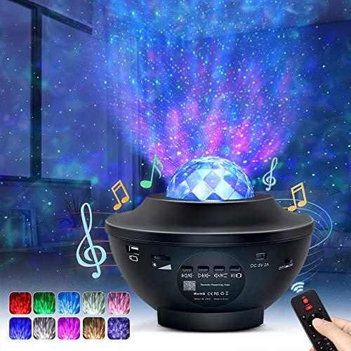 OTTOLIVES LED Sternenhimmel Projektor Baby Nachtlichter Projektor Lampe Sternenhimmel Lampe, mit Fernbedienung und Timer, Bluetooth Lautsprecher, für Geburtstagsfeier Hochzeit Schlafzimmer Wohnzimmer