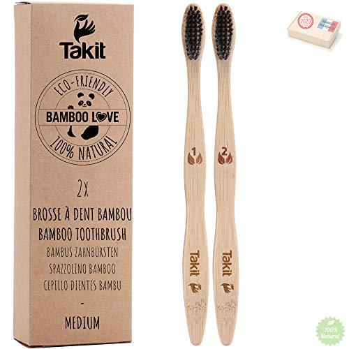 TAKIT Bambus Zahnbürsten - 2er Pack - Borsten Mit Bambus-holzkohle - Ökologisch Und 100% Biologisch Abbaubar
