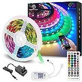 WenTop Tiras LED Bluetooth 15m, Luces LED RGB Colores con Control Remoto de 40 Botones y Fuente de Alimentación de 12V, Para Habitación, Dormitorio, Cocina, Techo, Festival Decorativos.