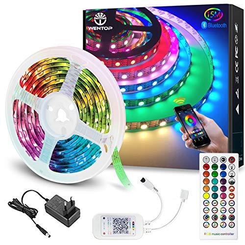 WenTop Tiras LED Bluetooth 15m, Luces LED RGB Colores con Control Remoto de 40...