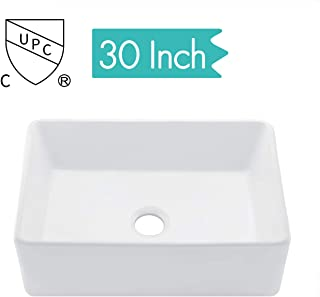 KES cUPC Fireclay Sink Farmhouse Kitchen Sink (30 Inch Porcelain Undermount Rectangular White) BVS117