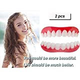DYSEL Instant Smile Perfect Veneers Cosmetic Simulation Teeth Whitening Cover Fake Tooth Reusable Silicone Braces Alternative to Temporary Repair Top and Bottom