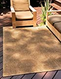 Unique Loom Botanical Collection Abstract Swirls Transitional Indoor and Outdoor Flatweave Area Rug, 5 x 8 Feet, Brown/Beige