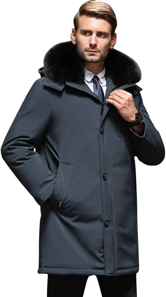 Down jacket Middle-Aged Men's Thick Winter Clothing, Medium Long Hooded with Fur Collar, Fabric: Coated Fabric/Filling: 90% White Duck Down