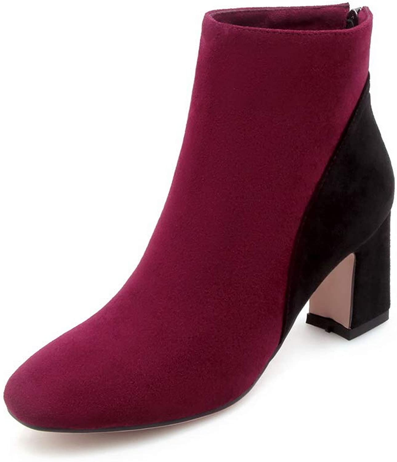 AN Womens Chunky Heels Assorted colors Imitated Suede Boots DKU02514