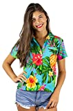 Funky Hawaiian Shirt Blouse, Shortsleeve, Pineapple, Turquoise, XXL