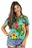 Funky Hawaiian Shirt Blouse, Shortsleeve, Pineapple, Turquoise, L