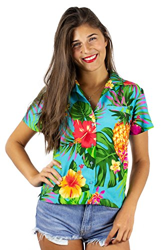 Funky Hawaiian Shirt Blouse, Shortsleeve, Pineapple, Turquoise, S