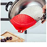 Binwwe Colador con Clip de Silicona, Y Embudo de Sopa se Adapta a Todas Las Ollas y Tazones para Drenar Pasta, Grasa, Vegetales, Fruta, Arroz/Fabricado con Silicona Resistente al Calor (Red)