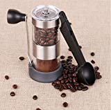 Asano Manual Coffee Grinder. Conical Ceramic Burr, Non-slip base Quiet and Portable, work for Pill & Vitamin & Peas. No limit Adjustable Grind