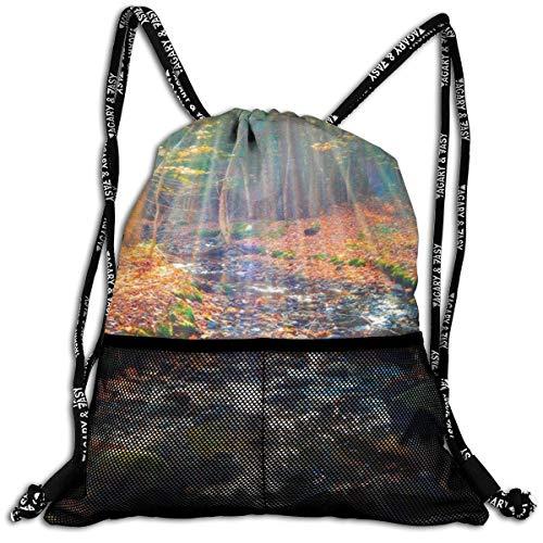 ARRISLIFE 3D-Rucksack mit Waldmotiv, Ahornbaum, Blättern, Fluss, tragbar, für Erwachsene