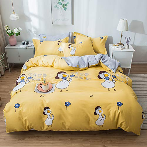 CYGJ Three-piece or four-piece soft and comfortable cotton beddingLittle yellow duck1.8m four-piece bedspread