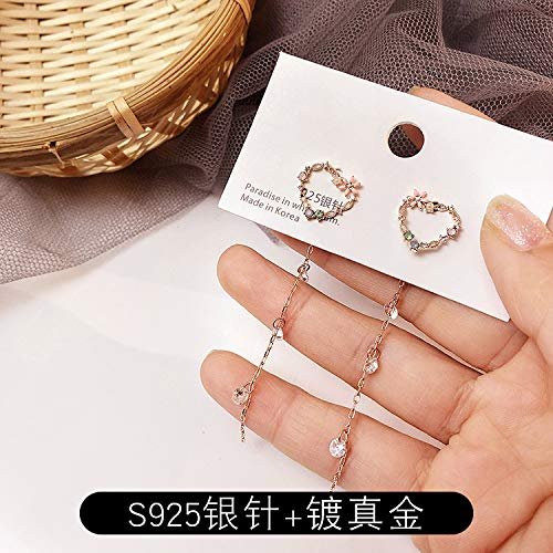 Chwewxi Lente en kleine verse liefde slinger oorbellen lange kwast asymmetrische temperament Koreaanse dames oorbellen, liefde zirkoon kwastjes (zilver naalden)