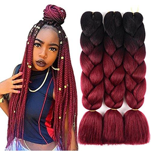24 inch Ombre Jumbo Braiding Hair Extensions 3 Packs Kanekalon Synthetic Braiding Hair Two Tone Jumbo Braids Hair Crochet Twist Box Braids for Black Women (Jumbo Braids, Black to Burgundy)