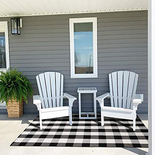 Ailsan Buffalo Plaid Outdoor Rug Doormat 4' x 6' Cotton Woven Checkered Floor Door Mats Farmhouse Black/White Washable Area Rugs Carpet Layered Front Door Mat for Porch Bathroom Kitchen Bedroom