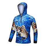 Men's UPF 40+ Long Sleeve Hooded Shirt Performance HD Print Quick Dry Fishing Hoodie (Navy, Large)