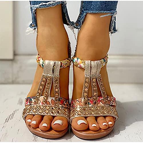 DZQQ Sandalias de Verano para Mujer, Zapatos de cuña con Plataforma Bohemia, Zapatos de Playa de Gladiador de Cristal Roma para Mujer, Banda elástica Informal para Mujer
