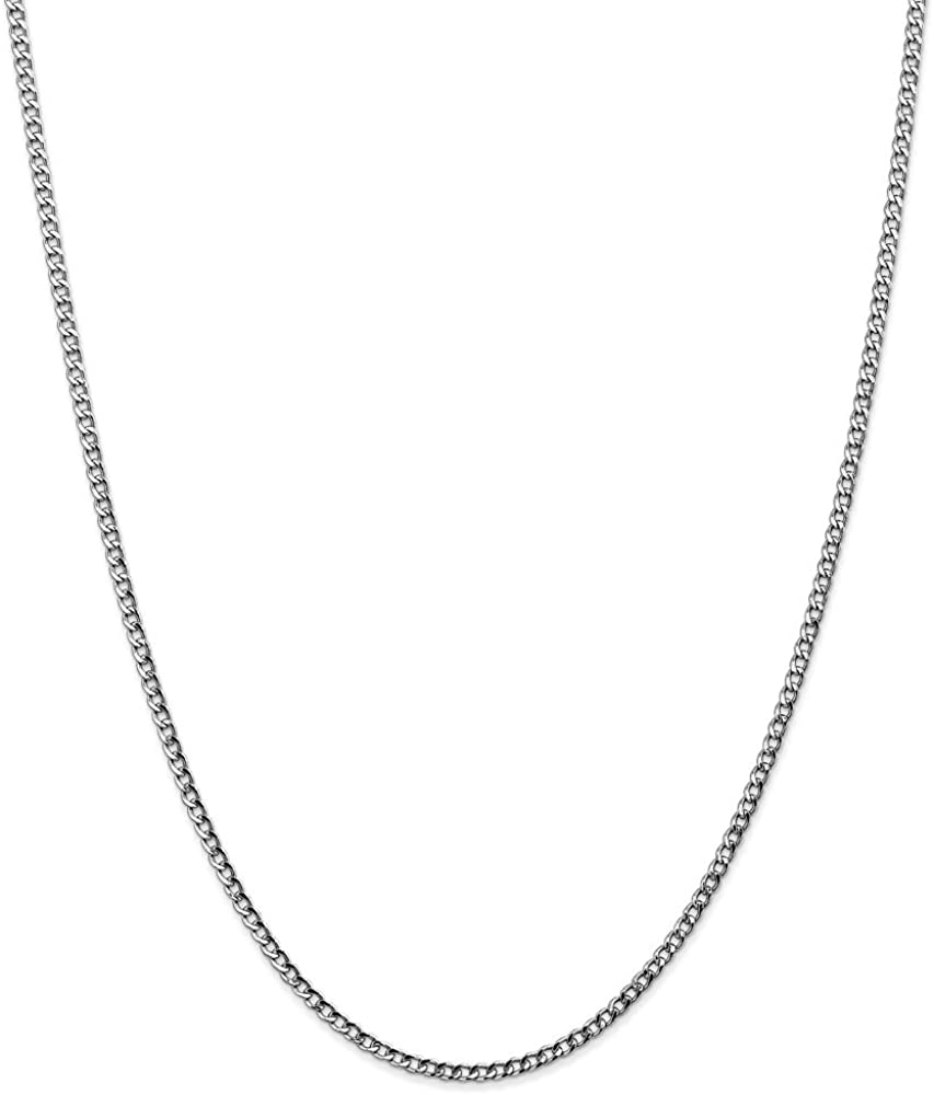 14k White Gold 2.5mm Curb Cuban Link Chain Necklace - with Secure Lobster Lock Clasp