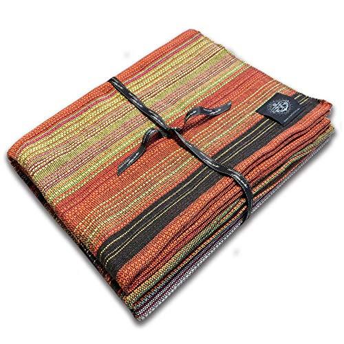 Craft Story Decke Fatima I Uni schwarz-braun-orange-gelb-Flieder gestreift aus 100% Baumwolle I Tagesdecke I Sofa-Decke I Überwurf I Picknickdecke I Nutz- & Schutzdecke I ca.170 x 220cm