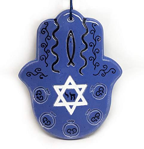 Amulette Hamsa (main de Fatma) en céramique - amulette de protection contre les mauvaises énergies, protection vibratoire personnelle