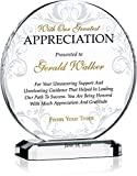 Crystal Central Personalized Appreciation Award Plaque for Mentor, Coach, Boss, Manager, Board Member, Board Director, Customized with Recipient Name and Date, Unique Thank You Gift Plaque (M - 6.5')