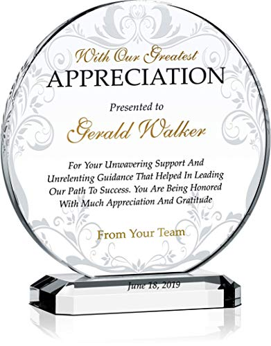 "Personalized Appreciation Award Plaque for Mentor, Coach, Boss, Manager, Board Member, Board Director, Customized with Recipient Name and Date, Unique Thank You Gift Plaque (L - 8"")"