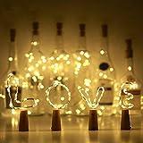 Lilideni Bottle Light 2m 20LEDs IP65 Luz de cuerda de alambre cobre Lámpara plegable plegable Tapa de botella Atmósfera Lámpara LED Micro luces de corcho para Navidad, decoración de bodas, celebración