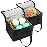 NZ Home Small Insulated Bag, Food Delivery Bag, Drink Carrier, Meal Delivery, Soft Lunch Cooler, Drink Tote & Coffee Carrier Bag, Hot & Cold Portable Insulated Tote Bag (2 Pack, Black)