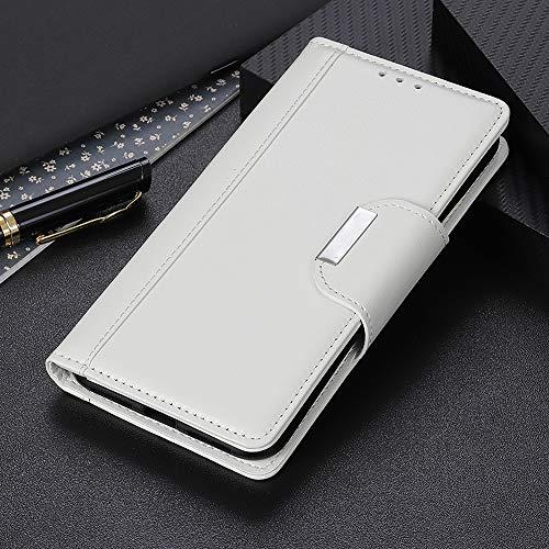 BELLA BEAR Hülle für Motorola One Fusion Plus Brieftasche Fall Bracket-Funktion Weiches Material Handykasten Hülle for Motorola One Fusion Plus(Weiß)