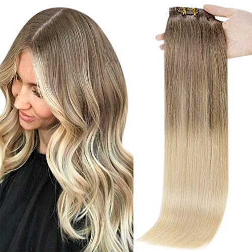 Full Shine Hair Extensions Clip In Human Hair Blonde Balayage Hair Color 8 Ash Brown Fading to 60 Platinum Blonde Seamless Remy Human Hair Clip In Extensions Full Head 8 Pcs 100 Gram Clip In Hair