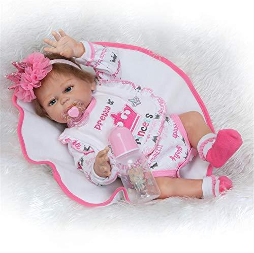 Binxing Toys 20 Pulgadas 50cm muñecas Bebes para niñas Reborn niña Cuerpo Entero Silicona Realista de niño y niña a Prueba de Agua(niña)