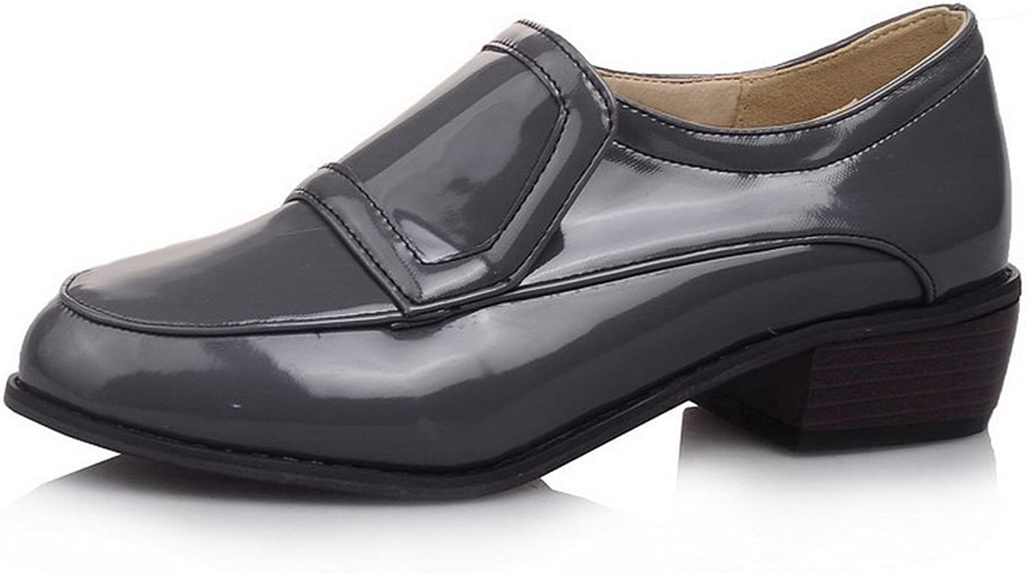 BalaMasa Ladies Square Heels Round-Toe Pull-On Patent-Leather Oxfords-shoes