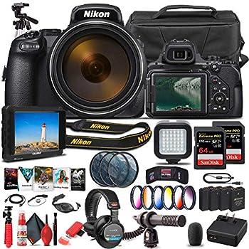 Nikon COOLPIX P1000 Digital Camera  26522  + 4K Monitor + Pro Headphones + Mic + 2 x 64GB Memory Card + Case + Corel Photo Software + Pro Tripod + 3 x EN-EL 20 Battery + Card Reader + More  Renewed