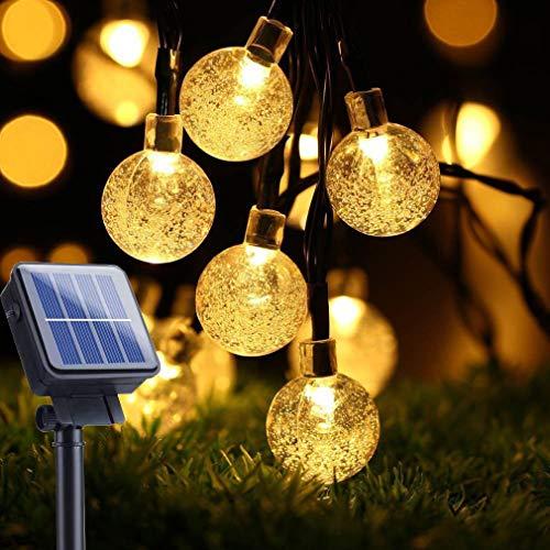 Guirnaldas Luces Exterior Solar, Ventdest Cadena de Luces Solares Exterior Impermeable, 50 LED Luces Decoración para Jardín, Patio, Navidad, Boda, Fiestas (Blanco Cálido 8 Modos)