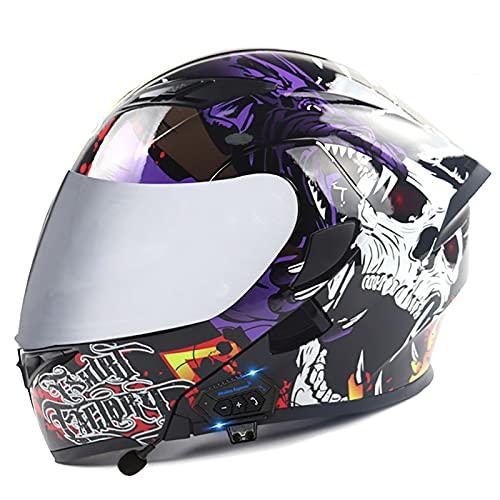 Casco De Moto Modular Integrado Bluetooth Casco,Flip Up Doble Visera Cascos Integrales De Moto Casco De Motocross Casco Modular,ECE Certificado Casco Moto para Mujer e Hombre J,XL=61~62cm