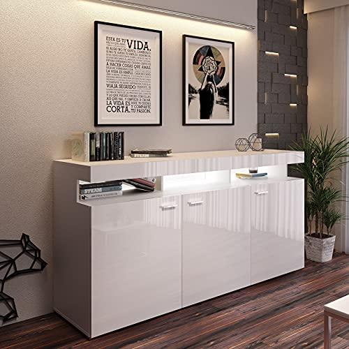 LUKMEBLE Vancouver W9.872 - Cómoda de 3 puertas y baldas de color blanco brillante, tablero de laminado, 179 x 89 cm