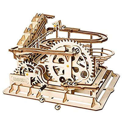 Yamix 3D Wooden Puzzle Waterwheel Coaster DIY Assembly Craft Kits Brain Teaser Puzzle for Adults, Teens and Kids